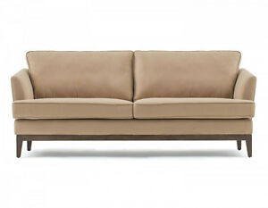 Structube Sorrento 3-Seater Modern Sofa in Sand Wood Legs