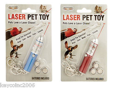 2 Pet Laser Red Light Beam Pointer Chaser Toy Dog Cat Chasing On Key Chain Dogs