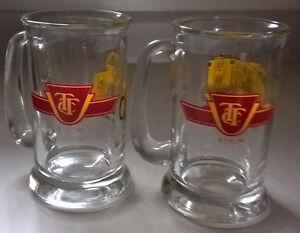 Vintage TTC Glass Mugs, Electric Locomotive, Front End Loader