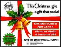 CHRISTMAS GIFT CERTIFICATE!!  6 Trial Piano OR Violin lessons!