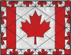 Canadian Flag Stained Glass Painting