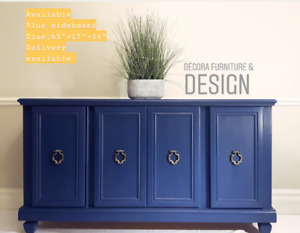 Navy blue Sideboard buffet credenza refinished.