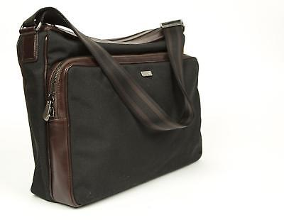 Canali $995 Black Nylon Brown Leather Carry-On Briefcase Attache Case Luggage