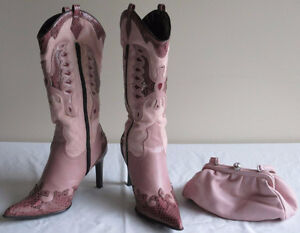 Pink Stiletto Western Style Boots