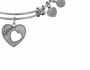 Angelica Silvertone Heart Mom Bracelet, New