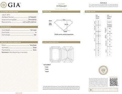14k white gold ring 1.50 ct, 1.01 carat GIA certified Emerald cut Diamond  H VS1 2