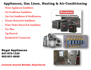 Gas Hookup $75:Licensed.Furnace,Water Heater, Appliances Install