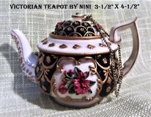 Collectible Hand Painted Miniature Teapot by NINI