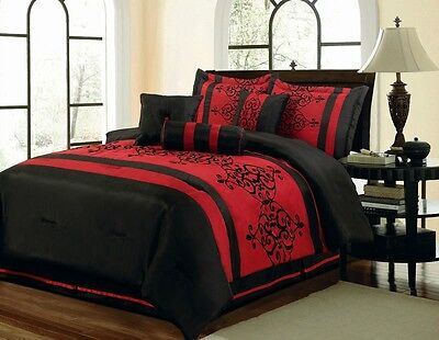 Luxurious Faux Silk Red Black Scroll Comforter 7 pcs Cal King Queen Bedding Set