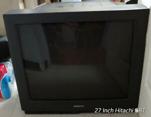 "27 "" Hitachi CRT Television w/ Speaker Connections for $15"