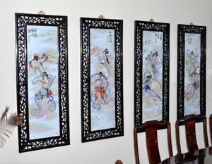 Chinese painting on porcelain tableau chinois sur la porcelaine