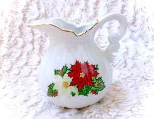Vintage Japan Poinsettia Flower Creamer Milk Jug Pitcher Small