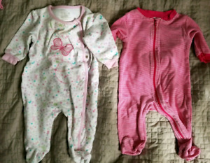 3-6  months baby girl sleepers - 1,50 $ each