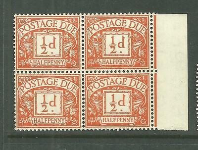 1955 SGD46  1/2d orange St Edward Crowns wmk block of 4 . Unmounted Mint .
