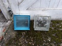 Mix of clear and blue glass bricks - 90 in total