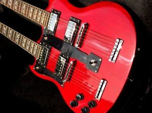 NEW 12/6 STRING LEFT HANDED DOUBLE NECK ELECTRIC GUITAR & CASE