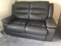 Black Faux Leather Reclining 2 str settee + 2 Chairs