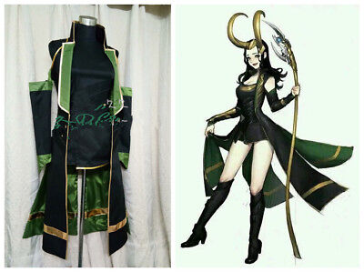 Costume Loki (Thor The Avengers Loki Laufeyson Female fighting uniform Custom Cosplay Costume)