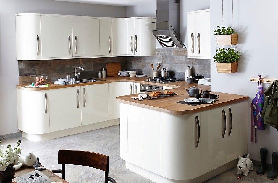 Cream Santini High Gloss Kitchen Cabinet Doors B&q