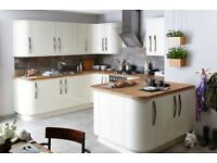 Cream high Gloss Santini Slab kitchen doors