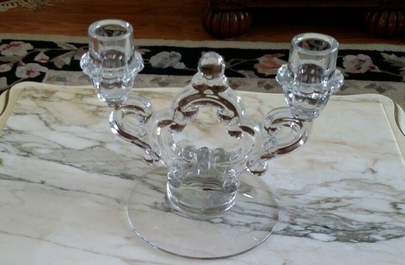 CAMBRIDGE Candelabra Vintage Pair ART GLASS Crystal CANDLE HOLDERS