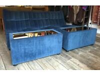 Retro Ligne Roset Style Sofas & Two Mirrored Side Tables