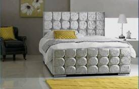 Crystal bed frame with mattress
