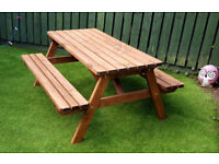 Pub Style Picnic Bench / Garden Table - 5Ft - Heavy Duty - Golden brown Brown