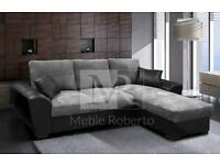 *48 HOUR DELIVERY* GIANNI BLACK & GREY/BROWN & BEIGE/CREAM CORNER SOFA BED WITH STORAGE