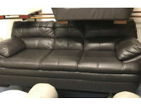 DFS global leather 3 seater sofa and armchair