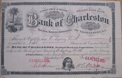 1879 Stock Certificate: 'Bank of Charleston, South Carolina SC' - Early Version