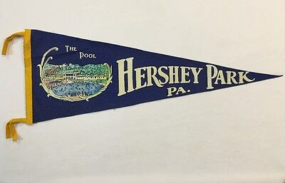 Vintage Felt Pennant Hershey Park Pa   The Pool  30  Flag Pennsylvania Rare