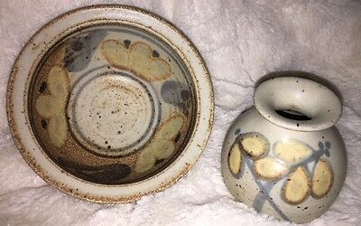 2 Vintage 1999 Shaw Pottery Small Floral Speckled Bowl & Jar Stone Yellow Brown