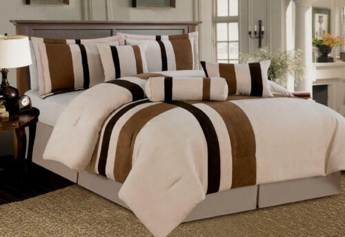 7 Piece Beige Brown Micro Suede Comforter Set Queen Size New MODERN Bed-in-a-Bag