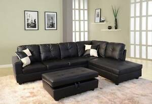 New SAGA Black PU Leather Couch Lounge Corner Chaise Sofa Set Virginia Brisbane North East Preview