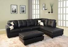New SAGA Black PU Leather Couch Lounge  Corner Chaise Sofa Set Brisbane City Brisbane North West Preview