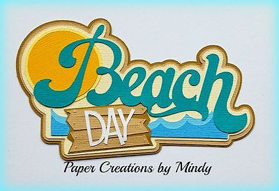 CRAFTECAFE MINDY BEACH DAY SUMMER premade paper piecing TITLE scrapbooking page