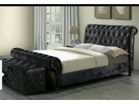 ❋❋ 3 COLORS ❋❋ 20% OFF ❋❋ SINGLE,DOUBLE,KING ASTRAL SLEIGH DOUBLE SIZE CRUSHED VELVET FABRIC FRAME
