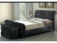 🌷💚🌷 SLEIGH BED FRAME 🌷💚🌷BRAND NEW CRUSH VELVET DOUBLE BED ALL SIZE AVAILABLE IN KINGIZE