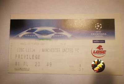 R2 TICKET LILLE  - MANCHESTER UNITED MAN U 20/02/2007 CHAMPIONS LEAGUE