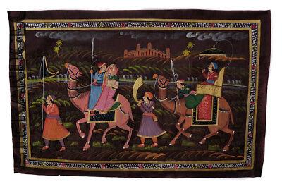 Hanging Wall Painting Mughal on Silk Art Scene de Life India 70x46cm 31
