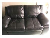 Black leather settee sofa