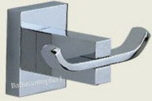 Square cubic double rob hook solid brass bathroom accessories chrome plated ebay for Chrome plated brass bathroom accessories