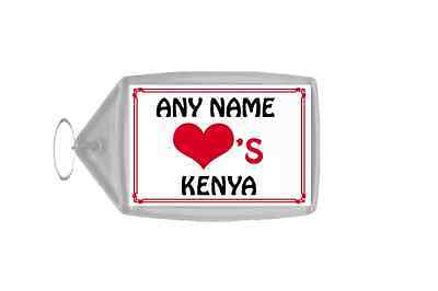 Love Heart Kenya Personalised Keyring