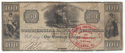 1849 Commercial Bank Of Columbia Sc  One Hundred Dollar Note Rare   01076