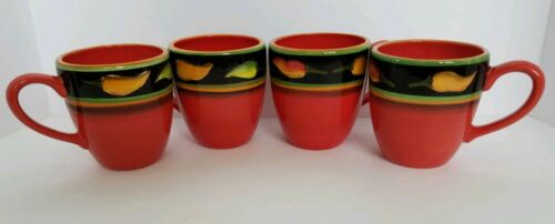 CLAY ART JALAPENO SET OF 4 16 Oz MUGS RED BLACK BAND JALAPENO PEPPERS - $59.95