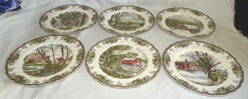 "Johnson Bros. England Friendly Village 6 Dinner Plates 10 3/4"" Different Scenes"