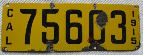 1915 California Porcelain License Plate