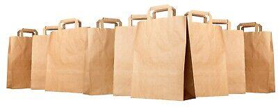 BROWN KRAFT PAPER BAGS x 50  SOS CARRIER TAKEAWAY BAGS Extra Large 16 x 12 x 7