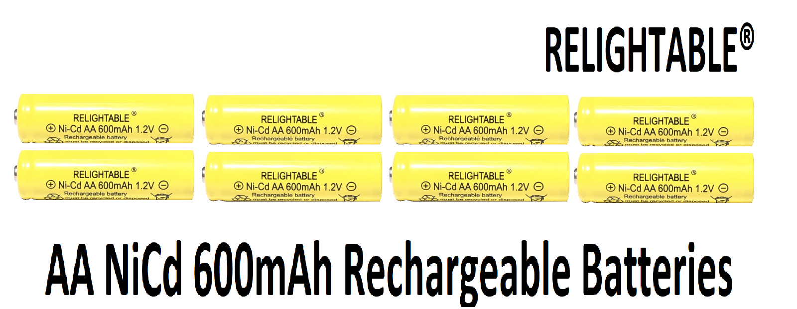 8 AA Rechargeable Batteries NiCd Ni-Cd 600mAh 1.2v Garden So